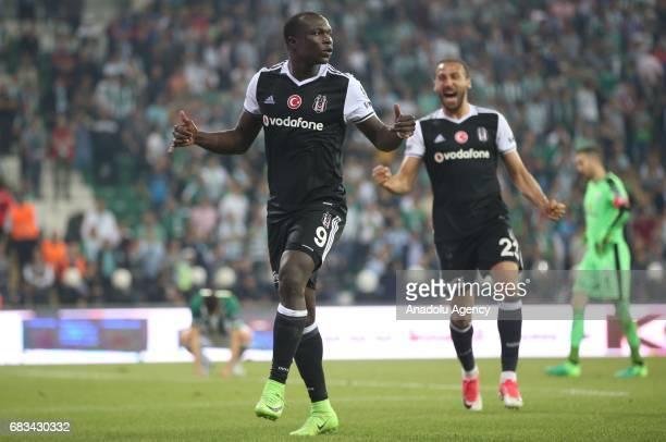 Aboubakar of Besiktas celebrates after scoring a goal during the Turkish Spor Toto Super Lig soccer match between Bursaspor and Besiktas at the...