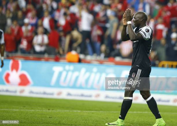 Aboubakar of Besiktas gestures during the Turkish Spor Toto Super Lig football match between Antalyaspor and Besiktas at the Antalya Arena in Antalya...