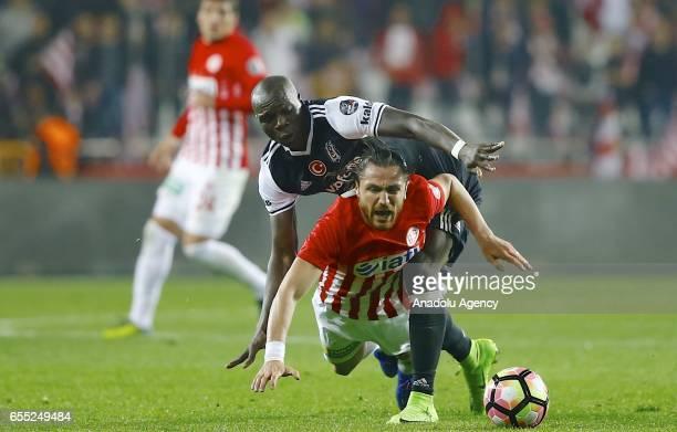 Aboubakar of Besiktas in action against Sakib Aytac of Antalyaspor during the Turkish Spor Toto Super Lig football match between Antalyaspor and...