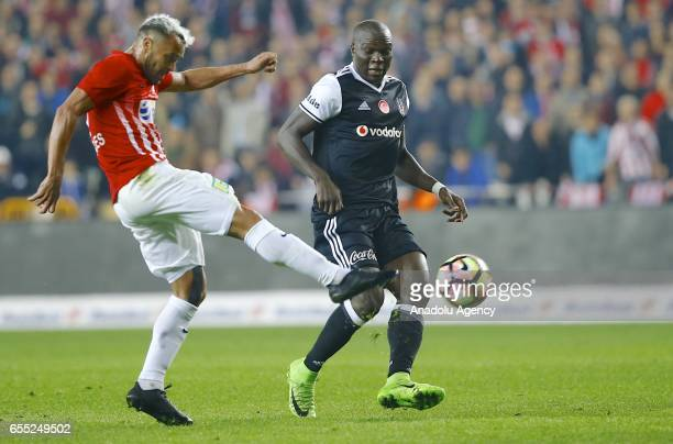 Aboubakar of Besiktas in action during the Turkish Spor Toto Super Lig football match between Antalyaspor and Besiktas at the Antalya Arena in...