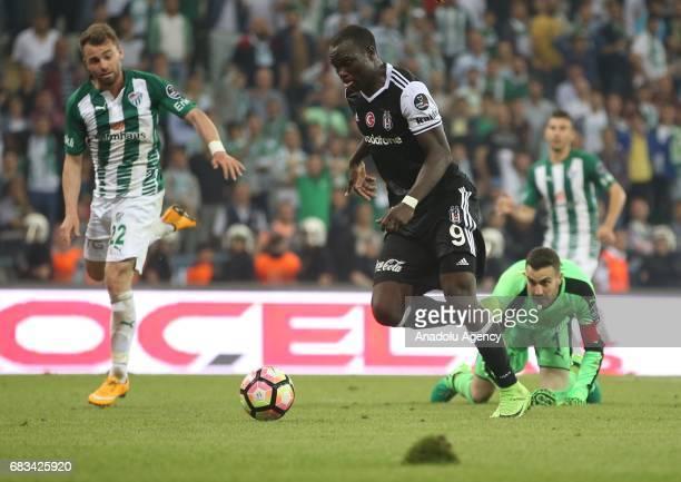Aboubakar of Besiktas in action during the Turkish Spor Toto Super Lig soccer match between Bursaspor and Besiktas at the Timsah Arena in Bursa...