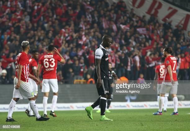 Aboubakar of Besiktas is seen after a red card during the Turkish Spor Toto Super Lig football match between Antalyaspor and Besiktas at the Antalya...