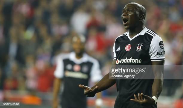 Aboubakar of Besiktas reacts during the Turkish Spor Toto Super Lig football match between Antalyaspor and Besiktas at the Antalya Arena in Antalya...
