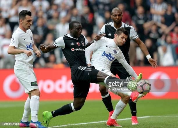 Aboubakar of Besiktas vies for the ball against Strahil Venkov Popov during the Turkish Spor Toto Super Lig soccer match between Besiktas and...