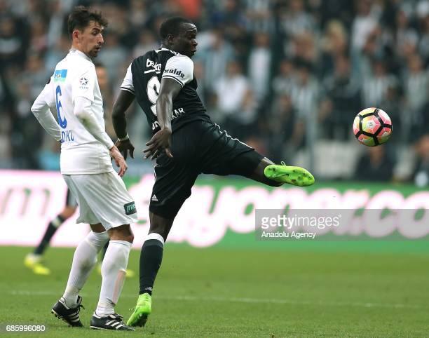 Aboubakar of Besiktas vies for the ball Loret Sadiku of Kasimpasa during the Turkish Spor Toto Super Lig soccer match between Besiktas and Kasimpasa...