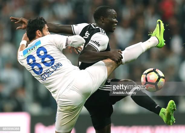 Aboubakar of Besiktas vies for the ball Veysel Sari of Kasimpasa during the Turkish Spor Toto Super Lig soccer match between Besiktas and Kasimpasa...
