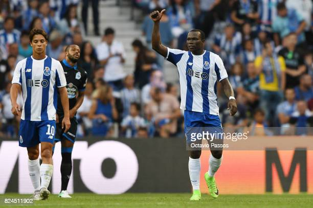 Aboubakar of FC Porto celebrates after scores the second goal during the PreSeason Friendly match between FC Porto and RC Deportivo La Coruna at...