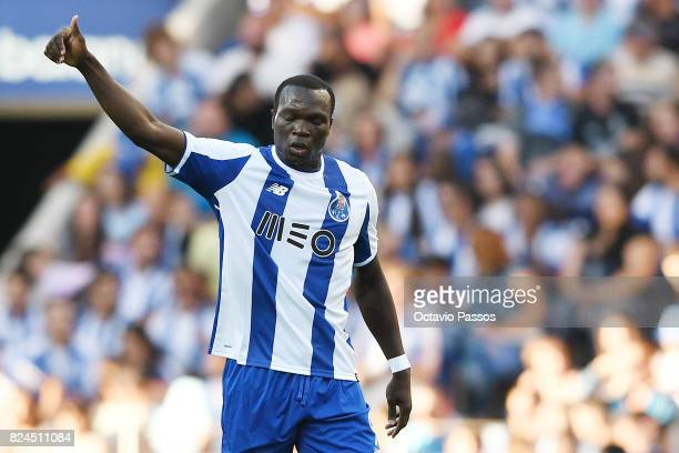 Aboubakar of FC Porto celebrates with team mates after scores the first goal during the PreSeason Friendly match between FC Porto and RC Deportivo La...