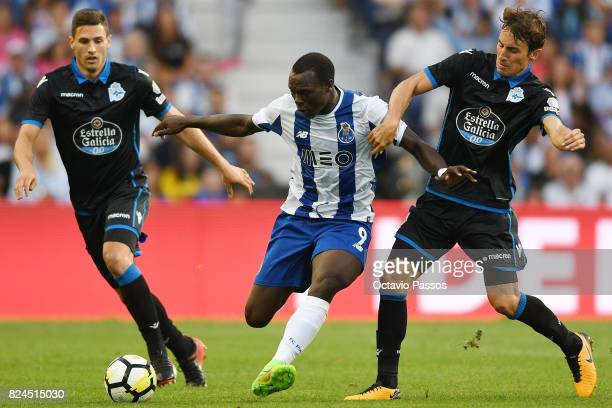 Aboubakar of FC Porto competes for the ball with Mosquera of RC Deportivo La Coruna during the PreSeason Friendly match between FC Porto and RC...
