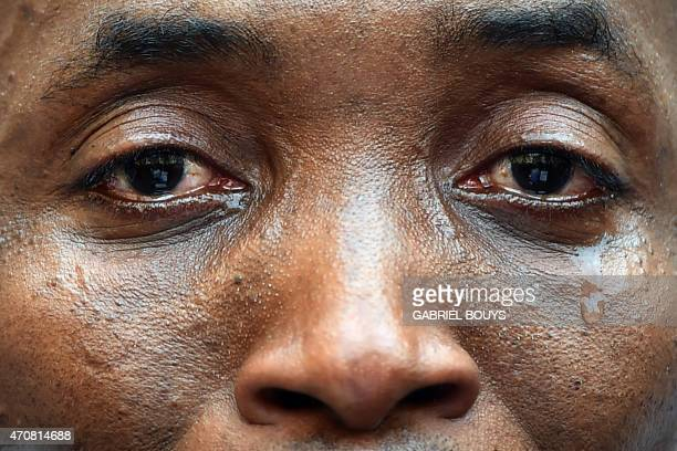 Aboubakar Soumahoro from the Ivory Coast spokeman of the association 'SansPapiers' in Italy cries during a demonstration of asylum seekers in front...