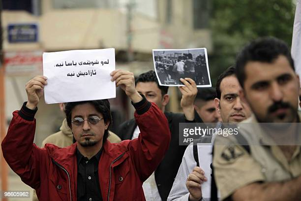 About 100 journalists demonstrate on Kurdish ress Day on April 22 2010 outside the offices of the Kurdish parliament in the northern Iraqi city of...
