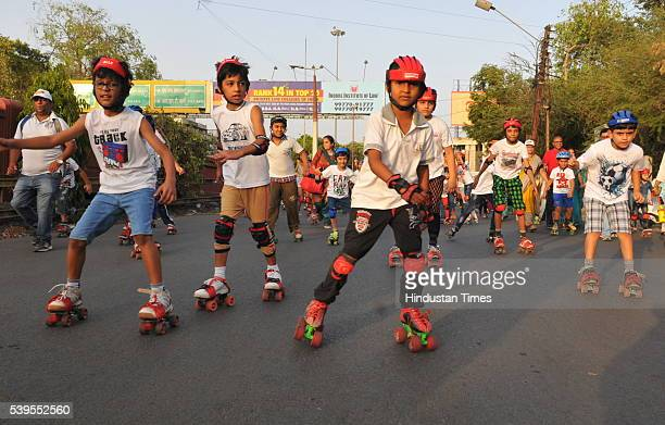 About 200 students participate in roller skating event organised by BJP from Indore University at RNT Marg to Basketball Complex to mark two years of...