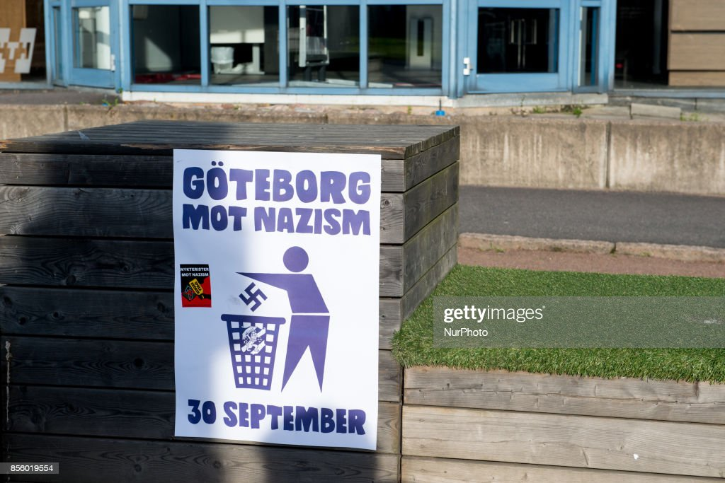 About 20000 counter protesters showed up to denounce nazism as members of the Nordic Resistance Front attempted to march through central Gothenburg, Sweden on September 30, 2017. The Swedish nazi group Nordic Resistance Front planned to march through central Gothenburg on the day of the Jewish holiday Yom Kippur. The group was expecting 1000 participants, but only about 200-300 came. The march never materialized after Gothenburg Police froze the nazi group's movement after they tried to break their cordon and scuffled with police. Ca 20000 counter protesters circled around the site where the police held the members of the Nordic Resistance Front and scuffles ensued between police and a small number of members of the antifa movement who tried to break through the barricades. About 50 people where arrested, one policeman and a civilian were injured in the scuffles.