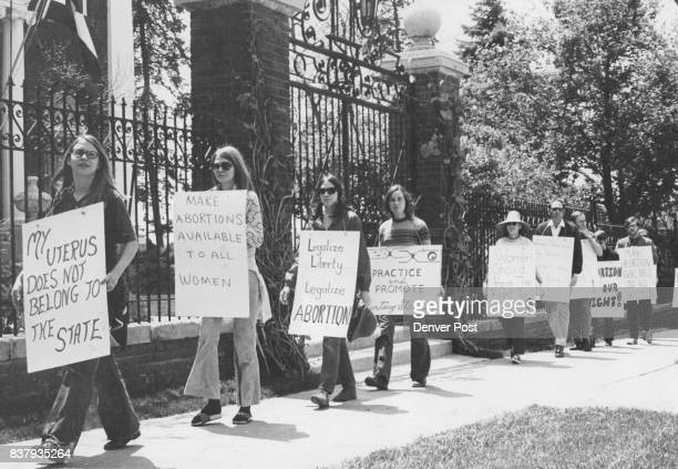 About 25 demonstrators mostly women picketed the governor's mansion 400 E 8th Ave Saturday afternoon to demand that Gov John Love list abortion...