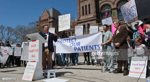 About 300 Ontario doctors their families and supporters gathered at Queen's Park Saturday for a rally and a march to protest cuts and a 'crisis in...