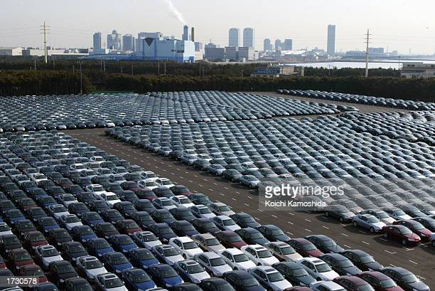 About 3000 Honda cars wait to be exported to North America at a port January 17 2003 in Chiba Japan The strength of the Japanese yen against the US...