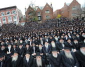 About 3000 rabbis of ChabadLubavitch movement are cameraready yesterday in front of Lubavitcher headquarters in Brooklyn where they were attending a...