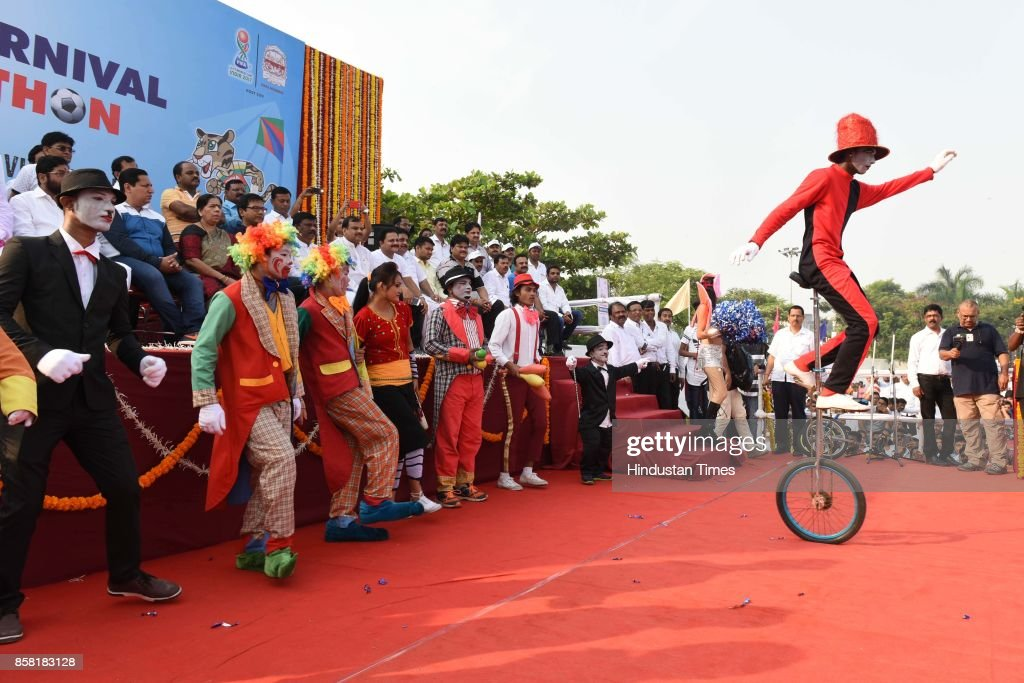 About 35,000 students from over 150 educational institutions take part in a 7-km long Walkathon-Cum-Football rally organised by Navi Mumbai Municipal Corporation (NMMC) in view of the FIFA Under-17 World Cup, which kicks off in New Delhi, at Ganpatsheth Tandel Ground Sect 36 Karawe Nerul, on October 5, 2017 in Mumbai, India.