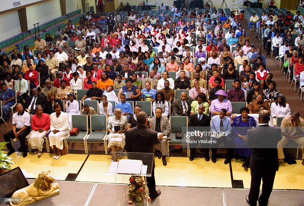 About 400 congregants attend the early service at Greenwood Acres Full Gospel Baptist Church August 3 2003 in Shreveport Louisiana In order to...