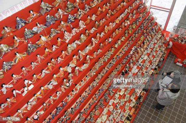 About 4000 traditional Japanese 'hina' dolls wearing colorful court dress are displayed at a facility in a hotspring resort in Numata Gunma...