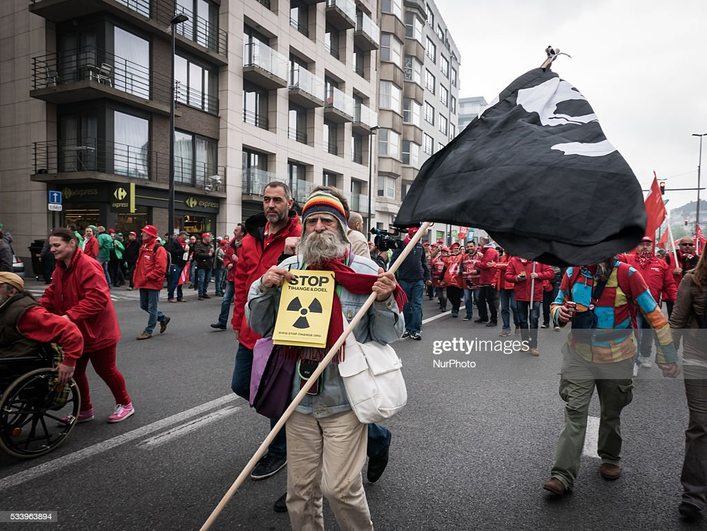 About 40.000 people gather to protest with the Three main trade unions against the Federal Governments economic and labour policies. in Brussels, Belgium, on May 24, 2016.