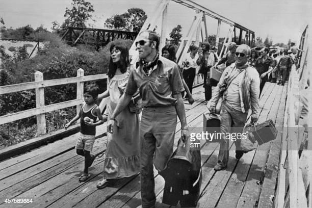 About 600 foreigners and Cambodians sheltered at the French embassy arrive by bus in Arayaprathet 04 May 1975 On New Year's Day 1975 Communist troops...