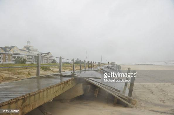 About a mile and a half of the synthetic plank two mile boardwalk in Spring Lake New Jersey was destroyed and rendered unusable by Hurricane Irene on...