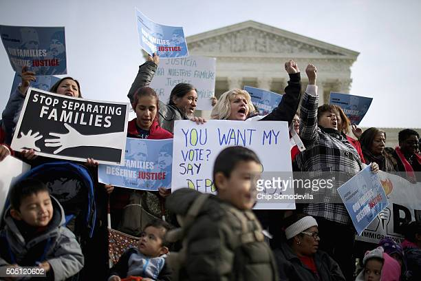 About fifty proimmigration reform demonstrators gathered for a rally outside the United States Supreme Court January 15 2016 in Washington DC...