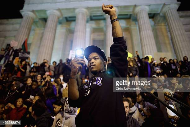 About one thousand demonstrators gather on the steps of the National Portrait Gallery the day after the Ferguson grand jury decision to not indict...