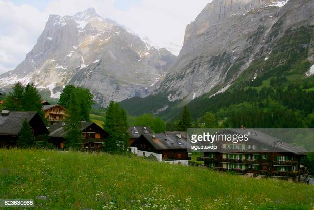 Above idyllic Grindelwald alpine village cityscape valley and meadows, dramatic swiss snowcapped alps, idyllic countryside, Bernese Oberland,Swiss Alps, Switzerland