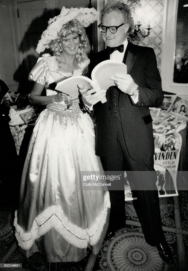 Above, lawyer Leslie Sigurdson with blond curls from Sugar's costume house, and actor-comedian Dave Broadfoot.