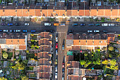 Aerial view of streets and houses in Bristol, England.