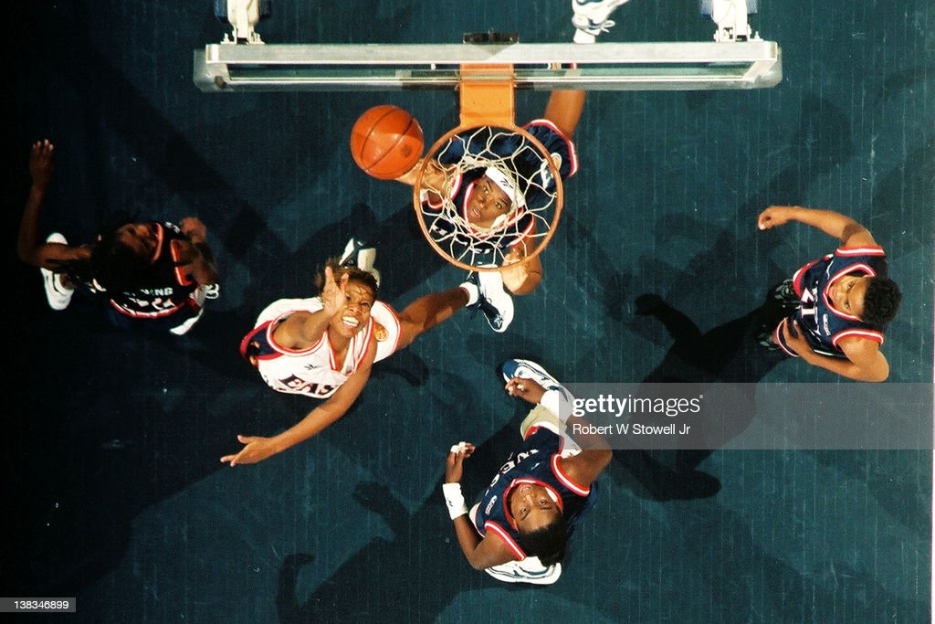 Above the hoop view of action during the American Basketball League AllStar game Hartford Connecticut 1997 Among those pictured are Western...