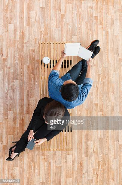 Above view of businesswoman with client