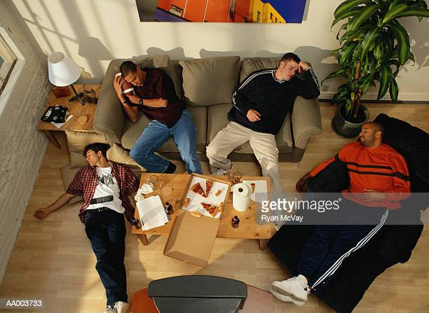 Above View of Four Men Sleeping