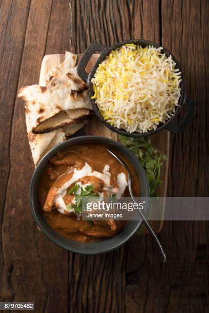 Above View Of Indian Chicken Curry Meal.