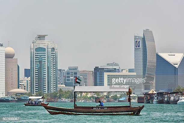 Abra crossing Dubai creek to pick up passengers