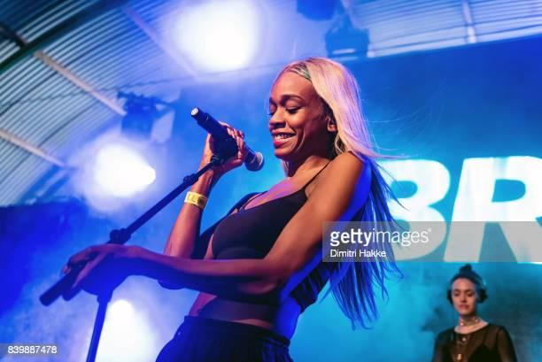 Abra performs on stage during Lowlands festival at Evenemententerrein Walibi World on August 18 2017 in Biddinghuizen Netherlands