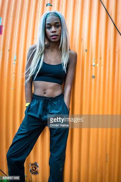 Abra poses backstage during Lowlands festival at Evenemententerrein Walibi World on August 18 2017 in Biddinghuizen Netherlands