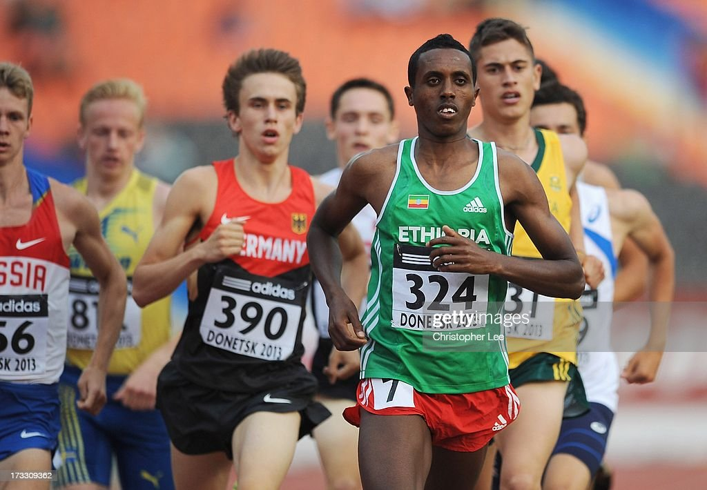 Abrahaley Tadesse of Ethiopia leads the field in the Boys 800m Semi Final during Day 2 of the IAAF World Youth Championships at the RSC Olimpiyskiy Stadium on July 11, 2013 in Donetsk, Ukraine.
