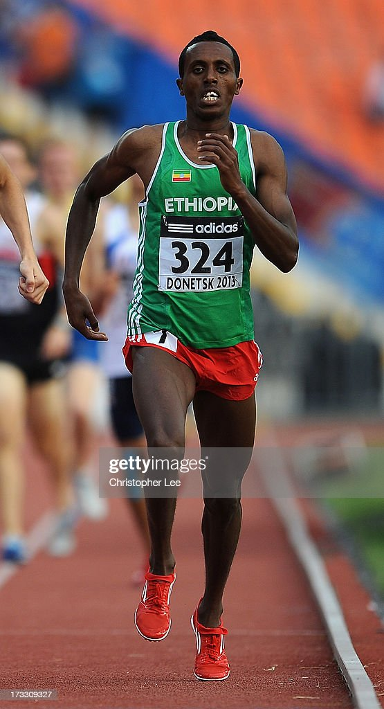 Abrahaley Tadesse of Ethiopia runs in the Boys 800m Semi Final during Day 2 of the IAAF World Youth Championships at the RSC Olimpiyskiy Stadium on July 11, 2013 in Donetsk, Ukraine.