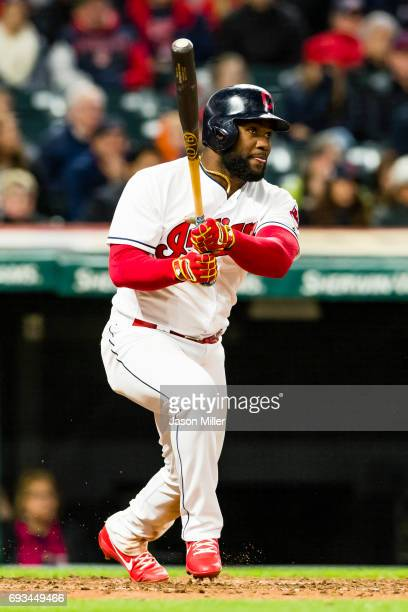 Abraham Almonte of the Cleveland Indians at bat during the fifth inning against the Chicago White Sox at Progressive Field on April 13 2017 in...