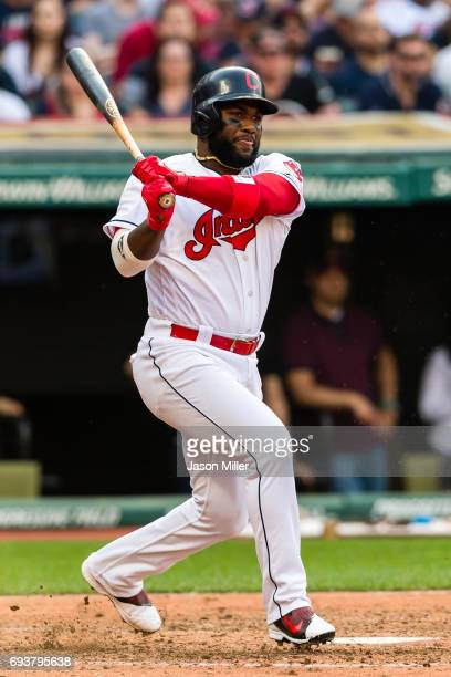 Abraham Almonte of the Cleveland Indians at bat during the fifth inning against the Detroit Tigers at Progressive Field on April 15 2017 in Cleveland...