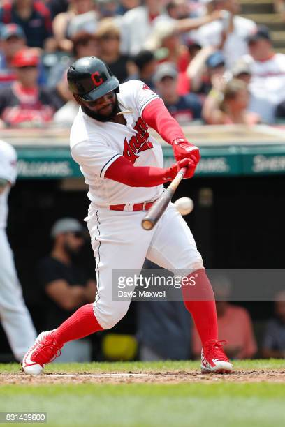 Abraham Almonte of the Cleveland Indians bats against the Colorado Rockies in the seventh inning at Progressive Field on August 9 2017 in Cleveland...