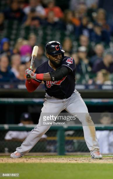 Abraham Almonte of the Cleveland Indians bats against the Detroit Tigers at Comerica Park on September 2 2017 in Detroit Michigan