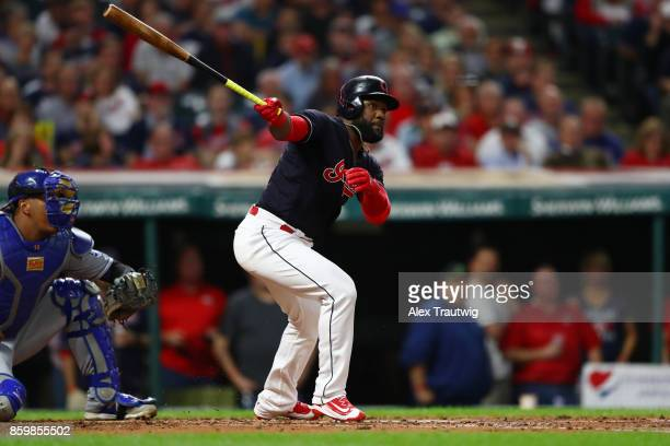 Abraham Almonte of the Cleveland Indians bats during the game against the Kansas City Royals at Progressive field on Thursday September 14 2017 in...
