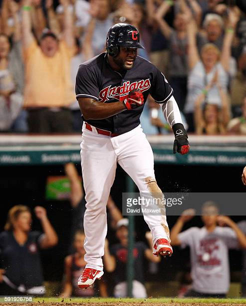 Abraham Almonte of the Cleveland Indians celebrates after scoring on a game winning sacrifice fly hit by Tyler Naquin against the Chicago White Sox...