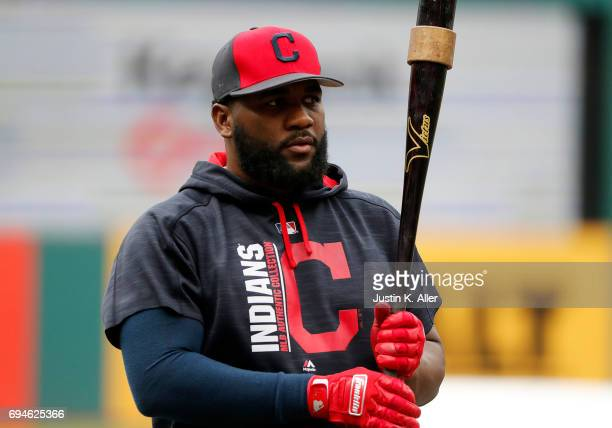 Abraham Almonte of the Cleveland Indians in action against the Chicago White Sox at Progressive Field on June 9 2017 in Cleveland Ohio