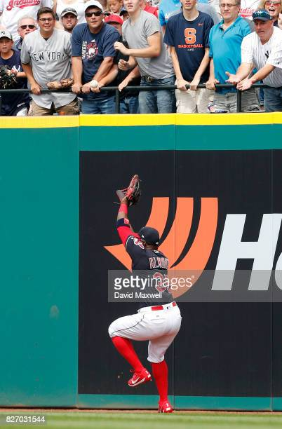 Abraham Almonte of the Cleveland Indians is unable to catch a ball hit for a triple by Jacoby Ellsbury of the New York Yankees in the sixth inning at...