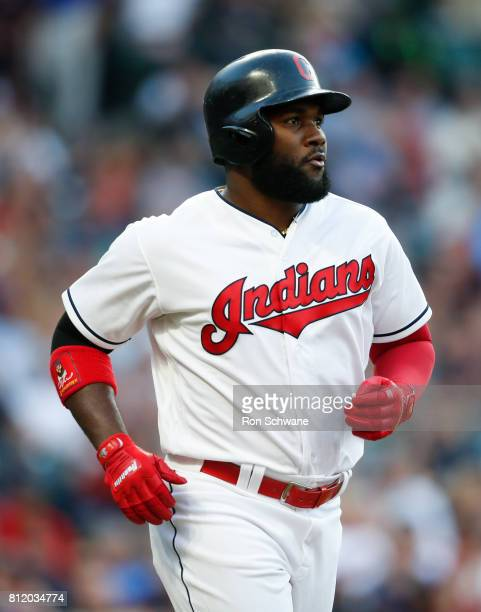 Abraham Almonte of the Cleveland Indians jogs to first base after being walked against the Houston Astros during the fourth inning at Progressive...